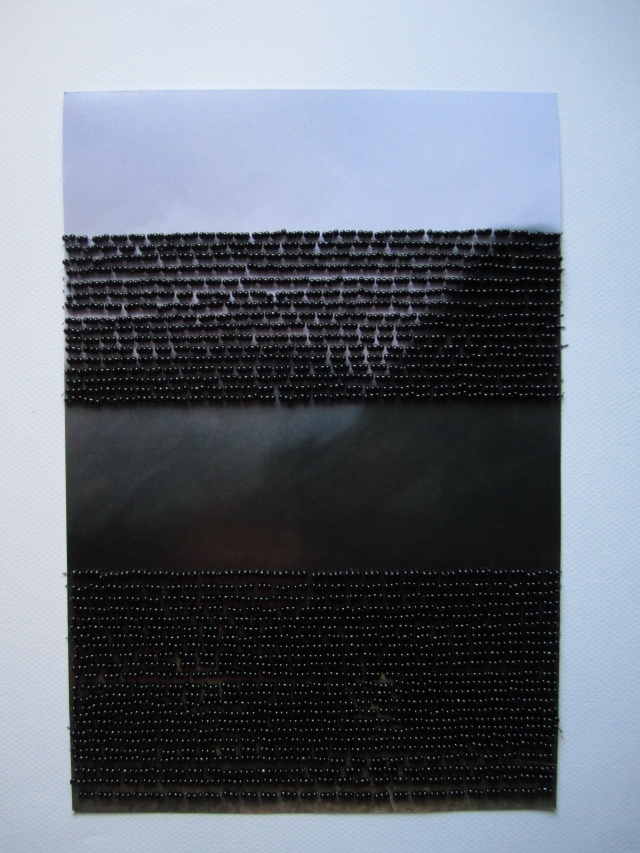 """That time in the mountains: photograph, beads, thread; 8x 11""""; 2010"""