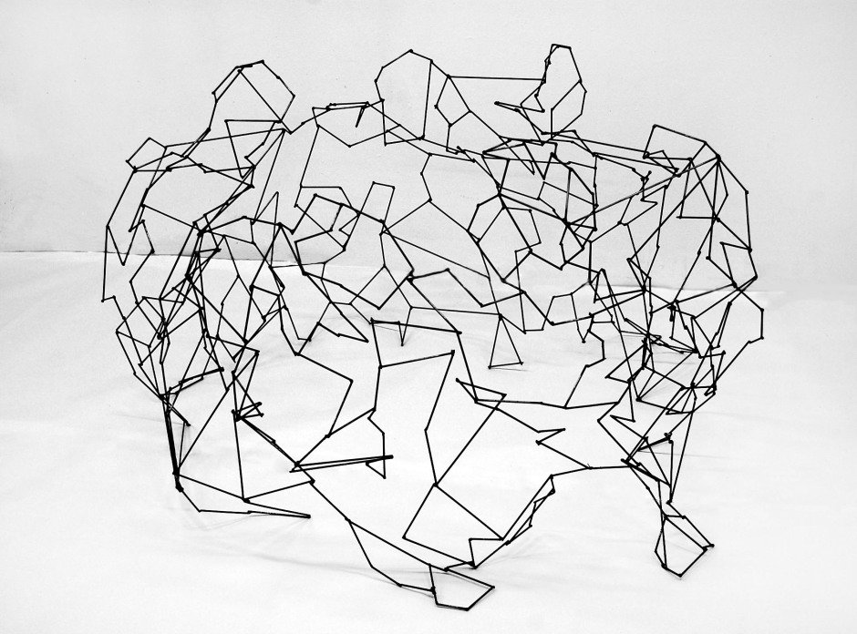 "Huddle: 1/16"" steel rod; 4 x 4 x 2 ft.; 2012"