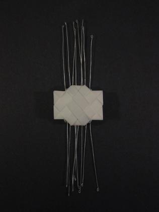 "Untitled (Home II): Mylar paper, wire. 10""x 2""x 1""; 2012"
