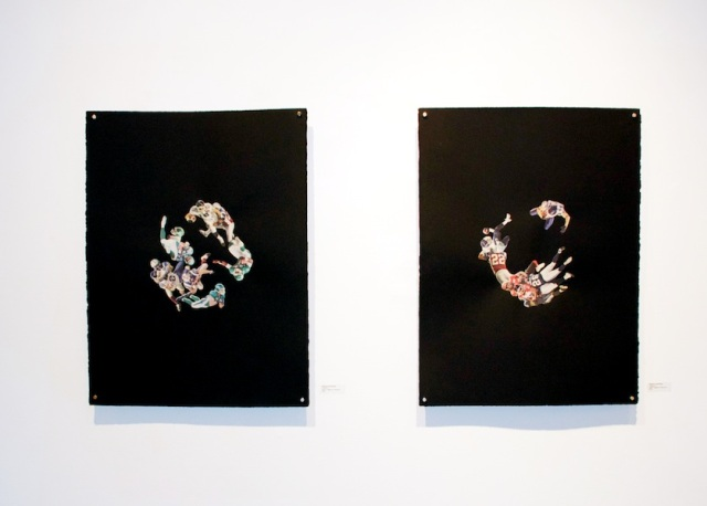 Collision 1 and Collision 2: paper, images on newsprint; 2013